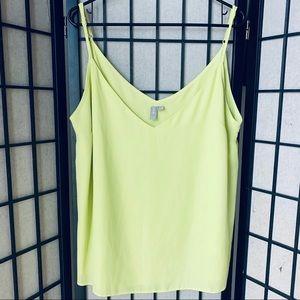 ASOS highlighter yellow tank blouse sz 14